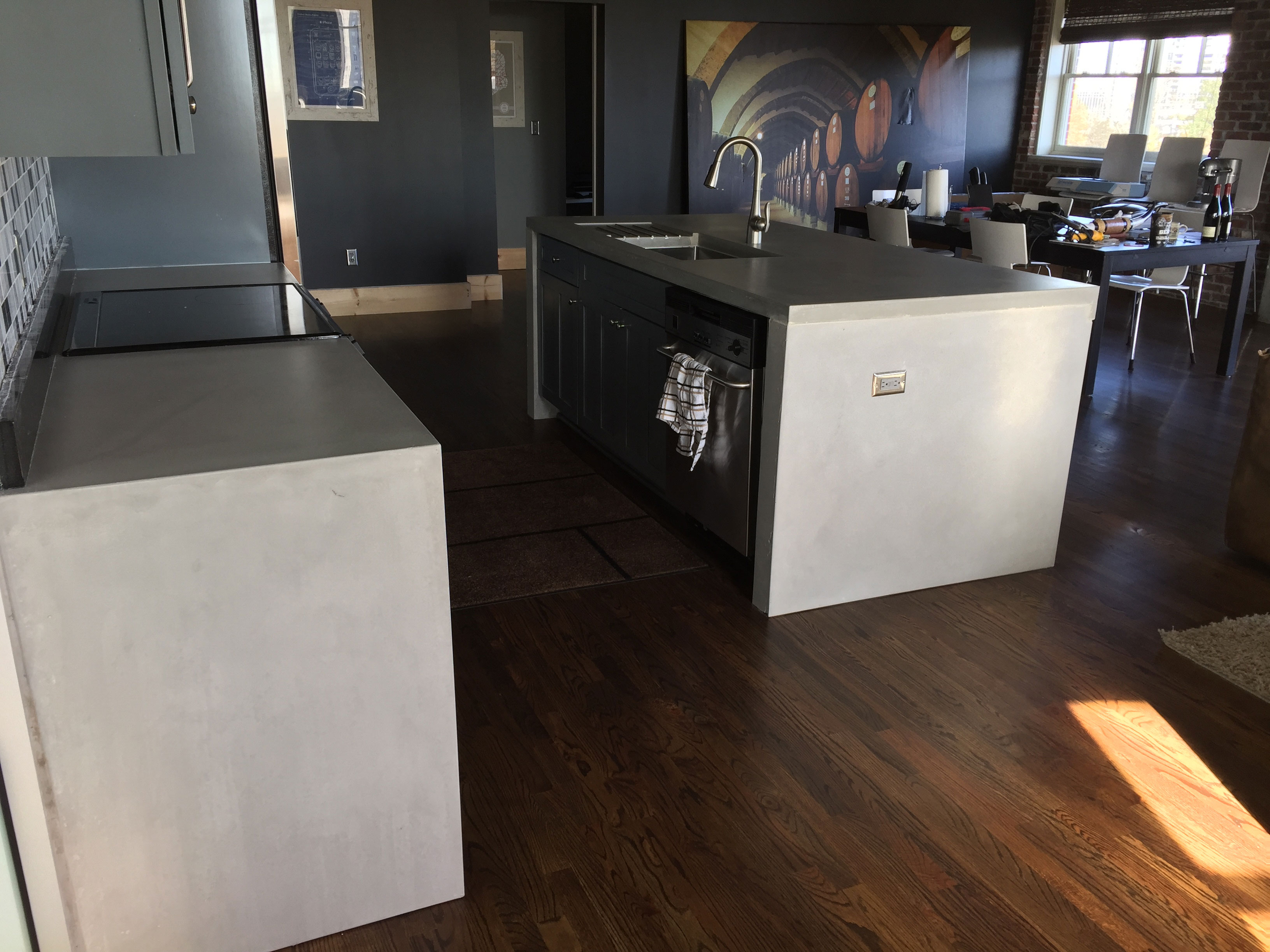 concrete sink and countertop piece